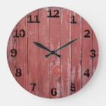 Rustic Red Weathered Barn Board Large Clock