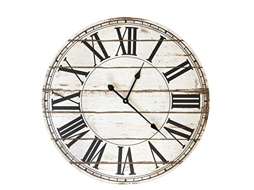 Buzzy B Designs Rustic Vintage Round Wall Clock-28 Inches Wall Decor for Family Room, Kitchen and Office. A Home Decor Vintage Look Timepiece.