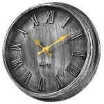 HYLANDA 12 Inch Vintage Retro Large 3D Roman Numerals European Style Wall Clock, Silent Wall Clocks Battery Operated Non Ticking Decorative for Kitchen,Home,Bathroom,Office(Silver)