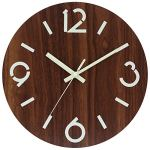 Ryuan 12 Inch Illuminated Wooden Wall Clock, Night Light Silent Non-Ticking Quartz Decorative Round Battery Operated Clocks Vintage Rustic Country Tuscan Style for Kitchen Home Office (Type 3)