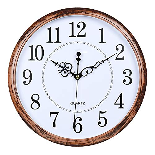 AKKODZ Rustic Atomic Wall Clock,Retro Silent Non-Ticking Quartz Decorative Battery Operated Wall Clock for Living Room/Kitchen/Home/Office (Bronze)