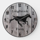 Farm Ranch or Stable Name Custom Barnwood Styled Large Clock