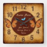 Personalized Vintage Butterfly Wall Clock
