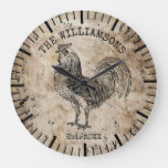Rustic Vintage Antique Family Name Farm Rooster Large Clock