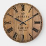 Wood Barn Rustic Family Name Farmhouse Year Wooden Large Clock