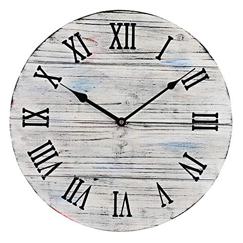 12 inch Rustic Farmhouse Vintage Wooden Painted Wall Clock – Distressed White – Battery Operated