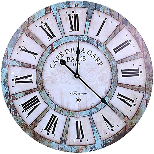 WISKALON Rustic Large Wall Clock 24 Inch Battery Operated Silent Non-Ticking French Country Design Retro Wall Clock, Indoor Round Wood Wall Clock,France Paris Rustic Wall Clock for Cafe Bar Kitchen