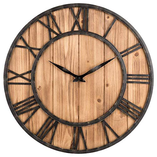 Upuptop Farm House Metal & Solid Wood Wall Clock Kitchen Wall Clock (Rustic Barn Vintage Bronze, 16-inch)