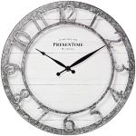 PresenTime & Co 13″ Farmhouse Series Wall Clock, Quartz Movement, Shiplap Style,Raised 3D Arabic Numeral, Galvanized Finish