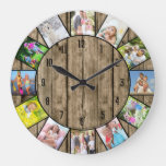 Custom 12 Photo Collage Rustic Natural Wood Round Large Clock