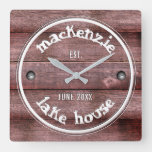 Rustic Wooden Weathered Fence Faux Engraved Square Wall Clock