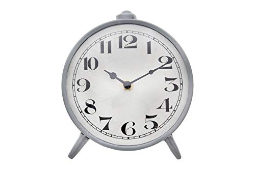 Creative Co-op Round Metal Mantel Clock, 6″ x 6.75″, Grey