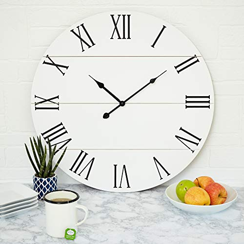 Large White Wall Clock – 21 Inches – Wooden – Shiplap – Farmhouse Decoration – Roman Numerals – Rustic Barn – Shabby Chic – Sleek, Simple, Clock – Big Classic Decor – Battery Operated