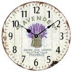 Wood Wall Clock 12″Vintage French Country Print Lavender in Tin Romantic Shabby Chic Large Decorative Roman Numerals Analog Battery Operated Silent for Home Decoration (Lavender Purple)