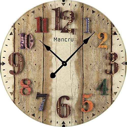 Mancru 0.4 Inch Thickness Vintage Not Cover Silence Wall Clock Shabby Wooden Large Round Non-Ticking Quiet Quartz Wall Clock Decoration Wall Art Clock 10-24inch