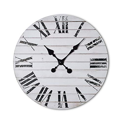 Dujawu Products Rustic White Wall Clock – Shiplap – Distressed Roman Numerals – Farmhouse Decor – Home/Office Clock – 16 inches – Living Room Kitchen Wall Decor – Silent Tick – Vintage Clock