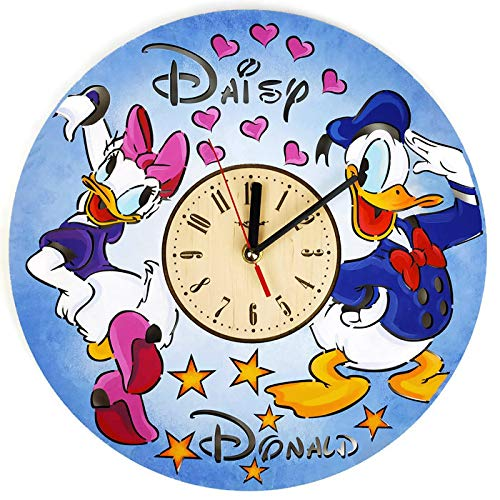 ShareArt Donald and Daisy Duck Silent Wood Wall Clock – Original Home Nursery Living Room Bedroom Kitchen Decor – Best Gift for Friends Kids Men Woman – Unique Wall Art Design – Size 12 Inch
