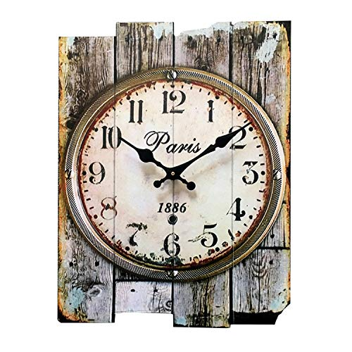 Gooday Antique Wall Clocks 15″ Vintage Rustic Country Style Silent Wooden Wall Clocks Creative Home Décor Hanging Clock