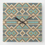 Modern Teal Blue Orange Taupe Brown Art Pattern Square Wall Clock