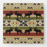 Moose Wildlife Animal Red Green Ochre Ikat Stripes Square Wall Clock