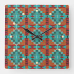Red Orange Turquoise Teal Eclectic Ethnic Art Square Wall Clock