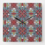 Rustic Red Turquoise Teal Orange Ethnic Art Square Wall Clock