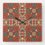 Trendy Green Turquoise Teal Orange Brown Red Art Square Wall Clock