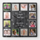 12 Photo Collage Family Quote Pallet Wood Black Square Wall Clock