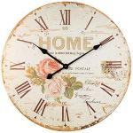 Rustic Wall Clock, Large Garden Rose Vintage Decorative Clock with Roman Numerals, Silent Non-Ticking Battery Operated Quartz Wooden Clock for Living room, Dining room, Kitchen, Apartment – 24 Inch