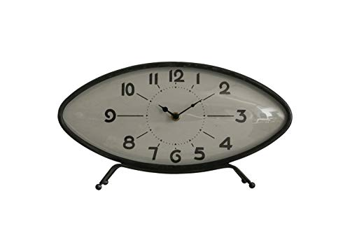 Creative Co-op Metal Retro Oval Mantel Clock, Black