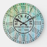 Beach House Wood Planks Black Roman Numeral Large Clock