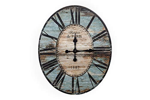 Creative Co-op Distressed Wood Wall Clock, 29″ Oval, Turquoise