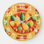 Lemons and Limes Painting Large Clock