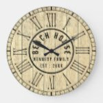 Reclaimed Wood Beach House Black Roman Numeral Large Clock