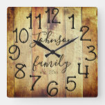 Rustic Distressed Faux Wood Custom Family Name Square Wall Clock