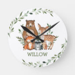 Chic Whimsical Woodland Animals Bear Deer Fox Owl Round Clock