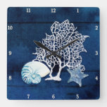 Beach Blue Starfish Nautilus Coral Sea Watercolor Square Wall Clock