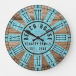 Rustic Wood Aqua Beach House Black Roman Numeral Large Clock