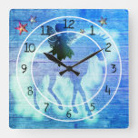 Colorful Blue Green Unicorn Decorative Square Wall Clock
