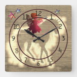 Colorful Faux Wood Unicorn Decorative Square Wall Clock
