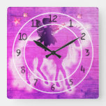 Colorful Pink & Purple Unicorn Decorative Square Wall Clock