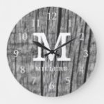 Rustic Black Wood Family Name Monogram Initial Large Clock