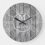 Rustic Family Name Monogram Gray  Wood Large Clock
