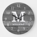 Rustic Reclaimed Wood Family Name Monogram Gray Large Clock