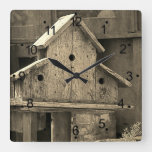 Rustic Wooden Birdhouse Sepia Square Wall Clock
