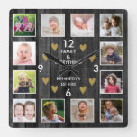 12  Family Photo Collage Pallet Wood Black Gold Square Wall Clock