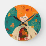 Autumn Girl with Tree in Jar Round Clock