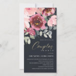BLUSH BLACK RED ROSE FLORAL COUPLES SHOWER INVITE