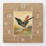 Country Kitchen Rooster Rustic Burlap Farmhouse Square Wall Clock