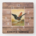 Country Rooster Rustic Wood Farmhouse Family Name Square Wall Clock